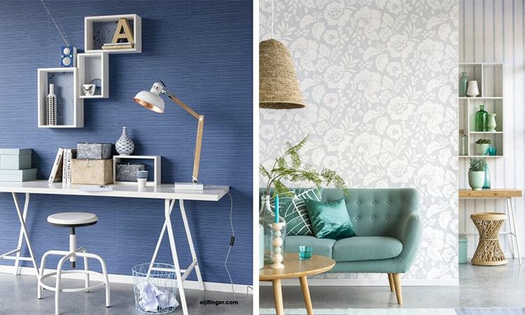 in poza din stanga un spatiu de lucru decorat cu tapet albastru, in poza din dreapta un living open space decorat cu doua tipuri de tapet gri, cu flori si in dungi, cu mobila verde si bej