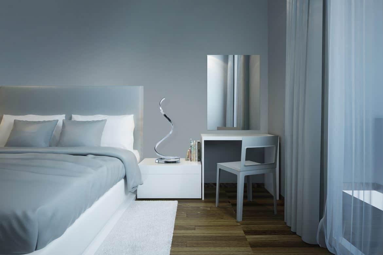 Dormitor bleu stil techno, cu pat dublu si oglinda fara rama