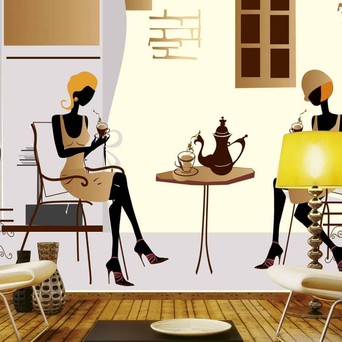 fototapet 3D in tonuri de alb, maro si negru, cu doua femei langa o masa cu ceai intr-un living modern, decorat in nuante de maro si bej