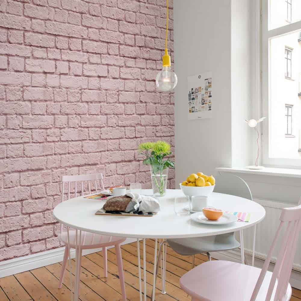 bucatarie decorata cu fototapet roz