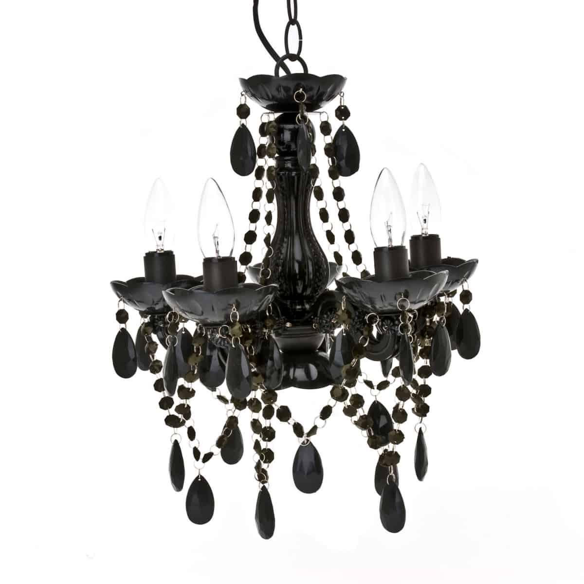 candelabru negru gypsy cu 5 brate si 5 becuri cu elemnte de decor negre pe fundal alb