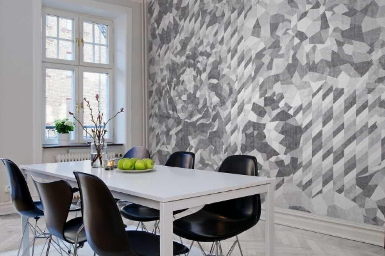 perete cu fototapet modern pentru bucatarii in 2020 de culoare negru-alb cu model abstract