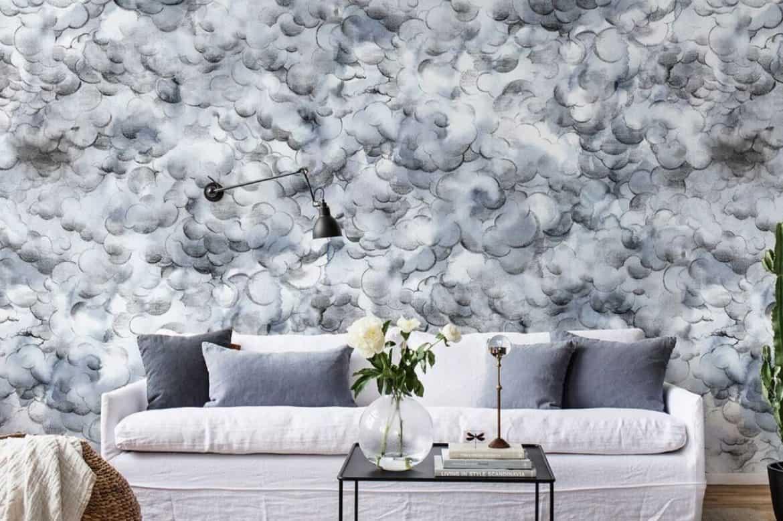 tapet cu nori de culoare alb cenușu cu accente de negru pentru proiecte diy