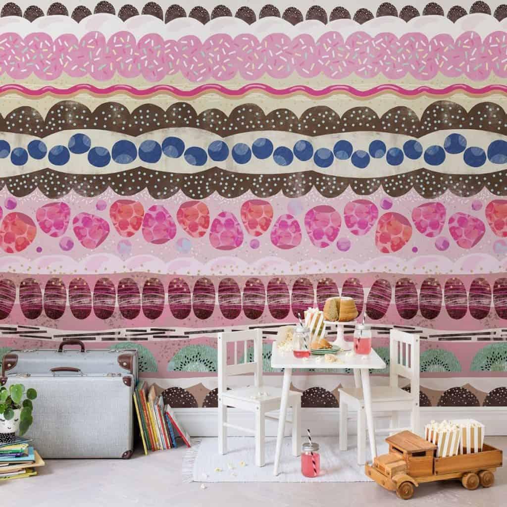 tapet cu dungi colorate in mai multe nuante de roz, albastru, alb si maro pentru proiecte diy