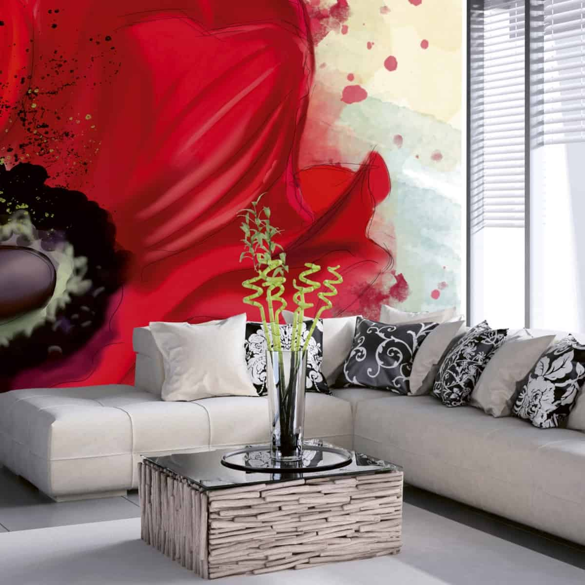 montare fototapet 3d cu motiv floral abstract predominant rosu intr-un living decorat in tonuri de alb, maro, verde, negru si gri, cu fereastra mare