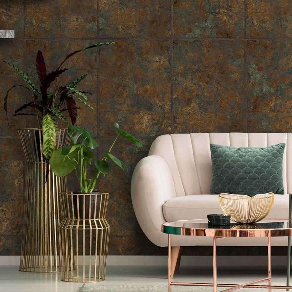 model de tapet metalic la moda in 2020 de culoare cuprului cu particule bronz oxidat