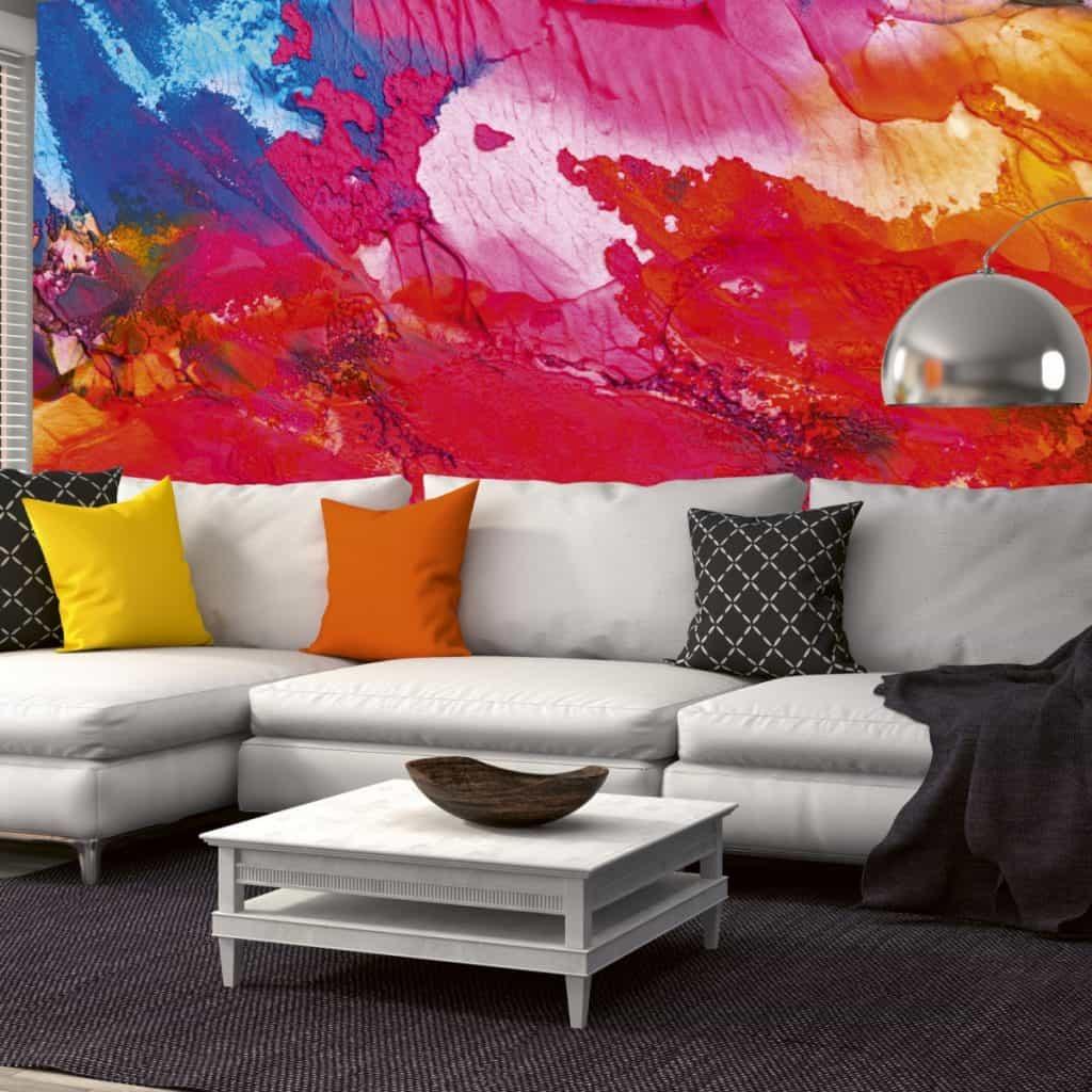 tapet cu model 3d abstract in culori aprinse precum rosu, mov, orange si albastru