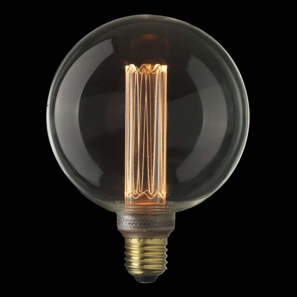 Bec rotund transparent cu filament aprins, reglabil, pe fond negru