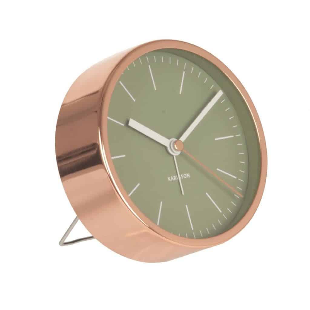 Ceas desteptator cu model clasic, cu ecran verde si rama de culoarea cuprului