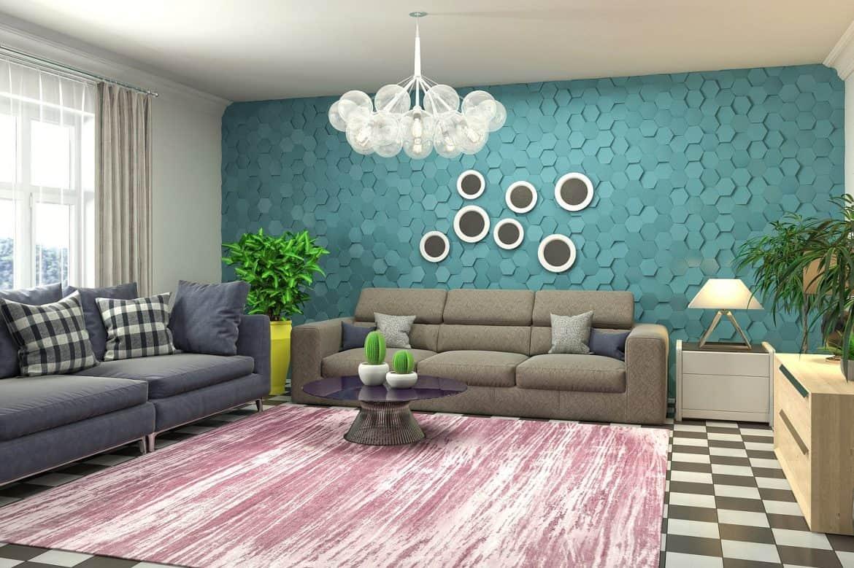 Living cu un perete in nuanta Aqua, culoarea anului 2021