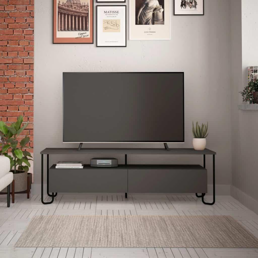 Comoda tv gri pe care se afla un televizor si planta decorativa, deasupra careia se afla tablouri