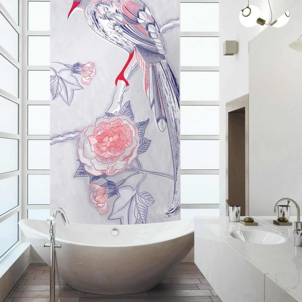 Fototapet Eden intr-o baie cu ferestre, cada ovala alba si mobilier alb