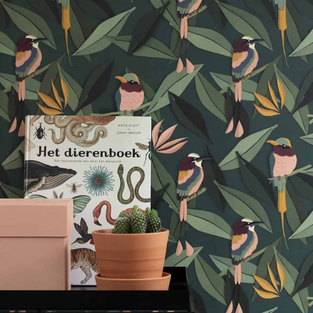 Tapet Bird in fata caruia se afla o comoda pe care se afla un atlas zoologic, un ghiveci cu planta decorativa si o cutie