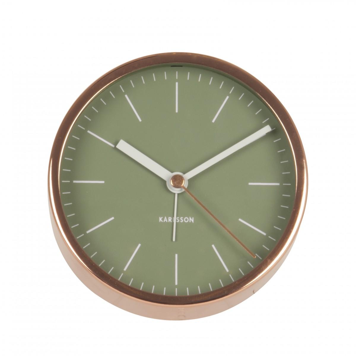 Ceas cu alarmă MInimal verde cu ramă de nuanța cuprului, Karlsson