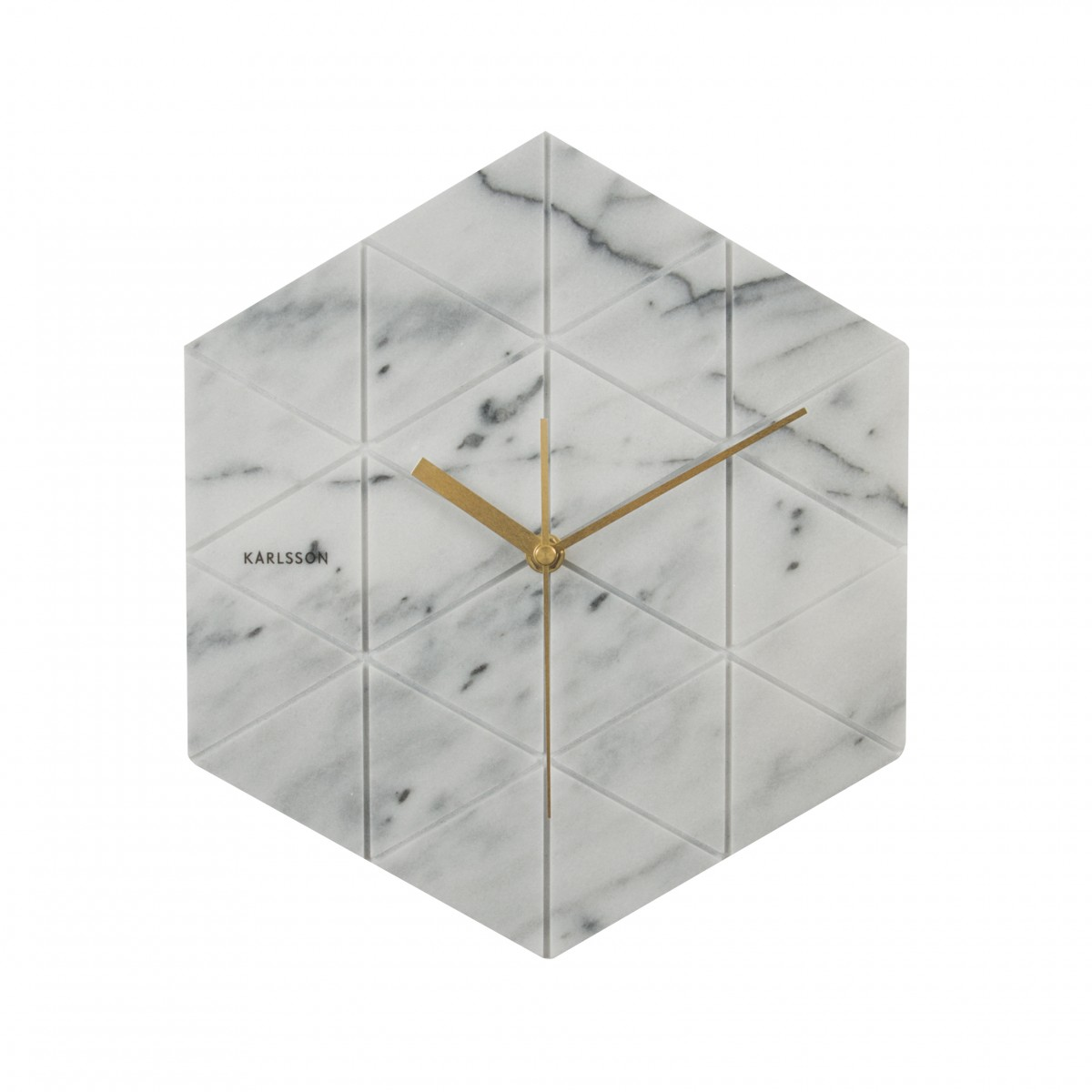 Ceas de perete Marble Hexagon alb, BOX32 Design, Karlsson