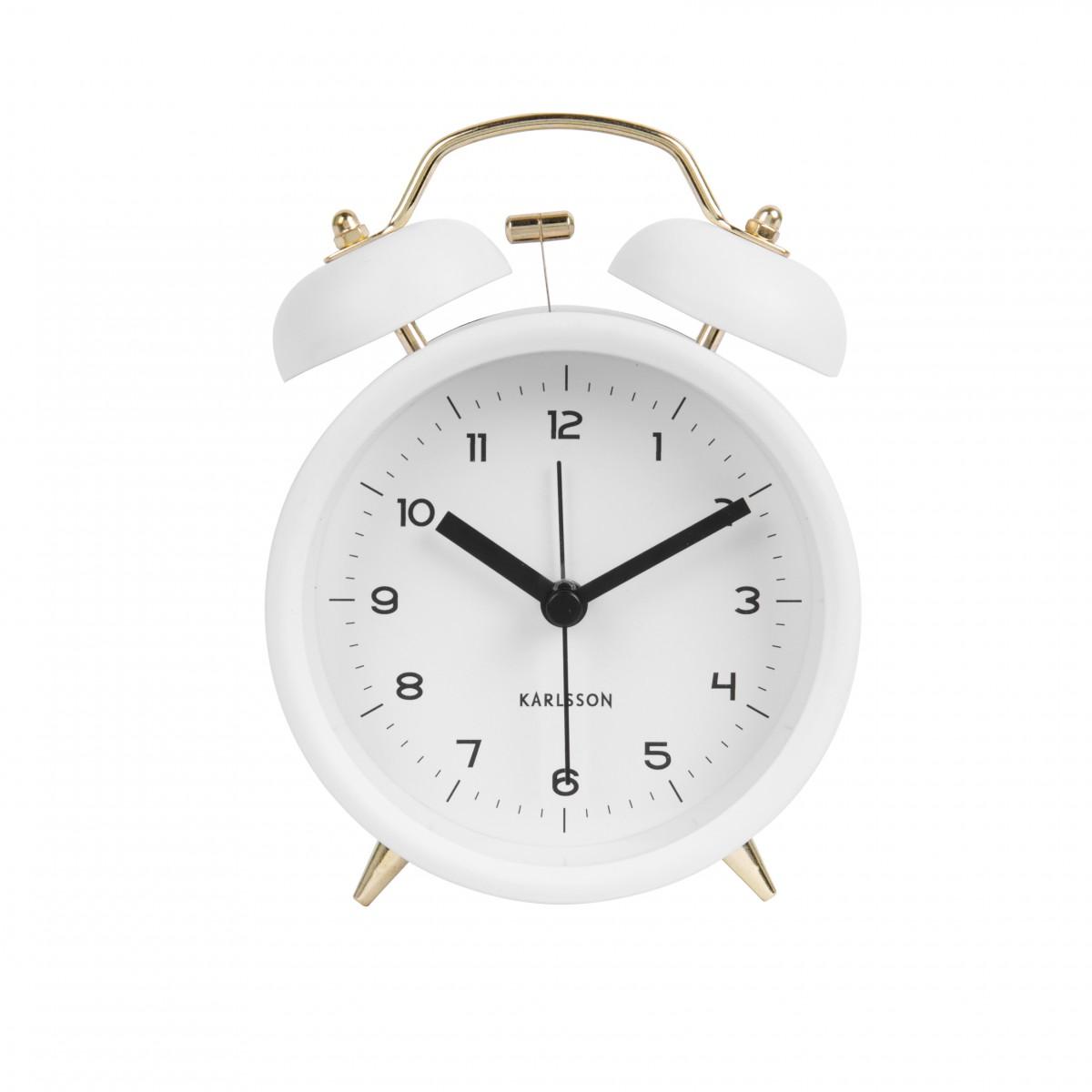 Ceas cu alarmă Classic Bell alb cu auriu, BOX33, Karlsson