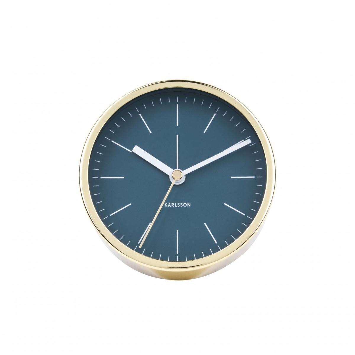 Ceas cu alarmă Minimal albastru petrol, ramă aurie, Karlsson