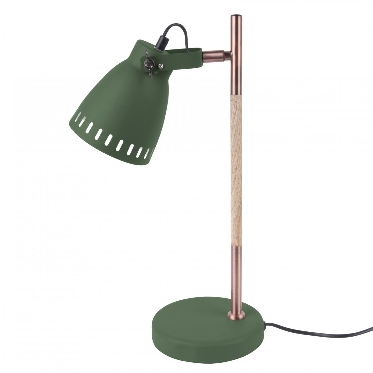 Lampă de birou Mingle cu lemn verde, Leitmotiv