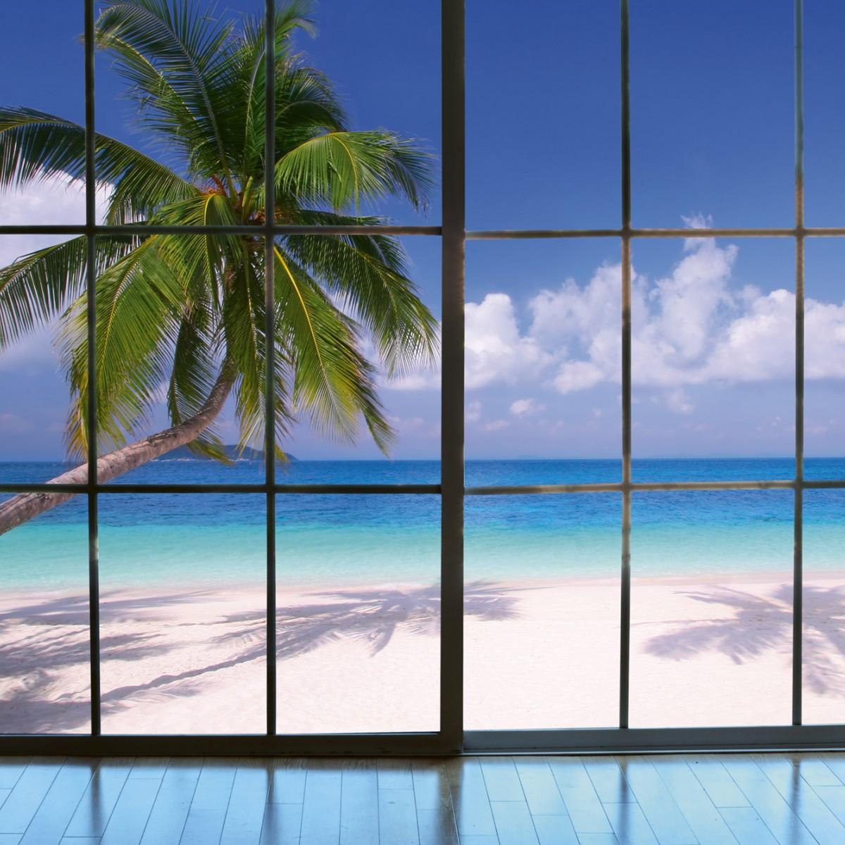 Foto tapet 3D Beach Window View, Dimex, 5 fâșii, 375 x 250cm