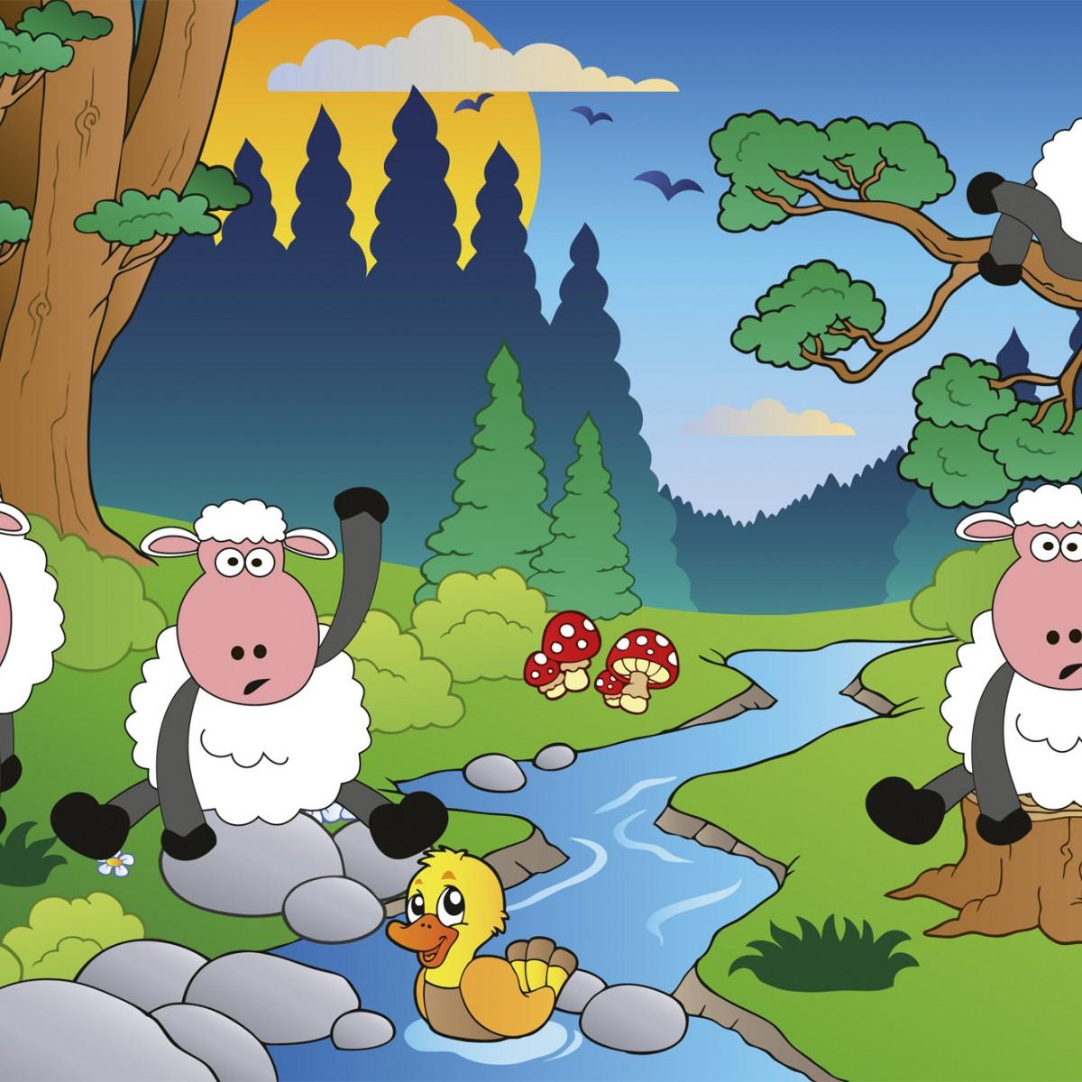 Foto tapet 3D Sheep In Forest, Dimex, 5 fâșii, 375 x 250cm