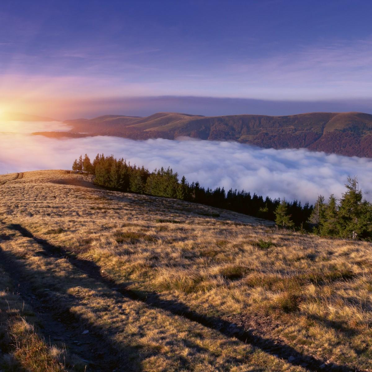 Foto tapet 3D Sunrise In Mountains, Dimex, 5 fâșii, 375 x 250cm