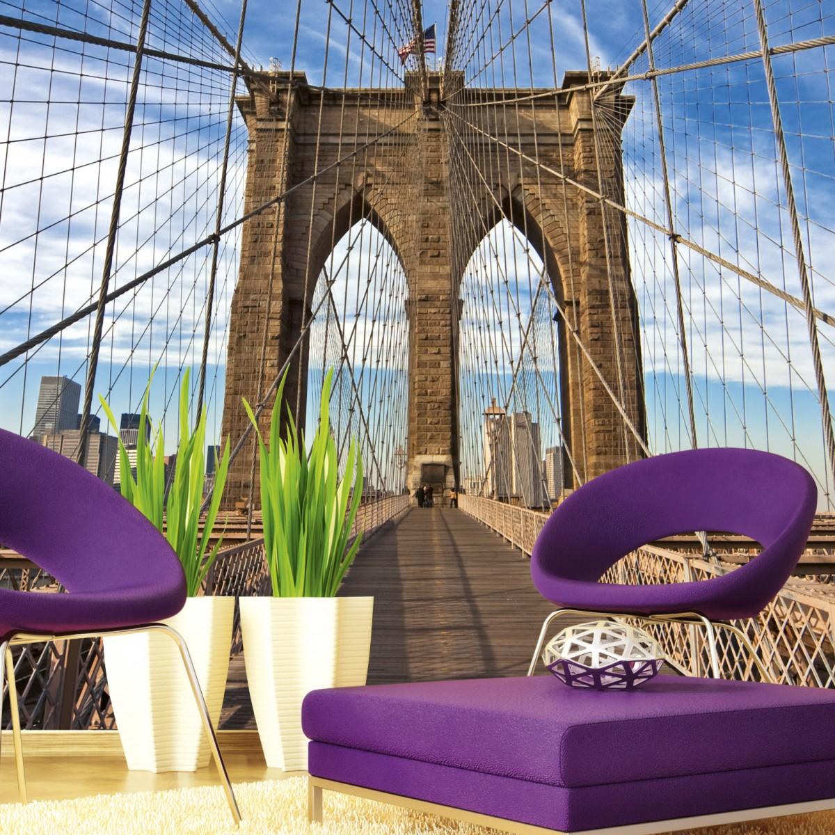 Foto tapet 3D Brooklyn Bridge, Dimex, 5 fâșii, 375 x 250cm