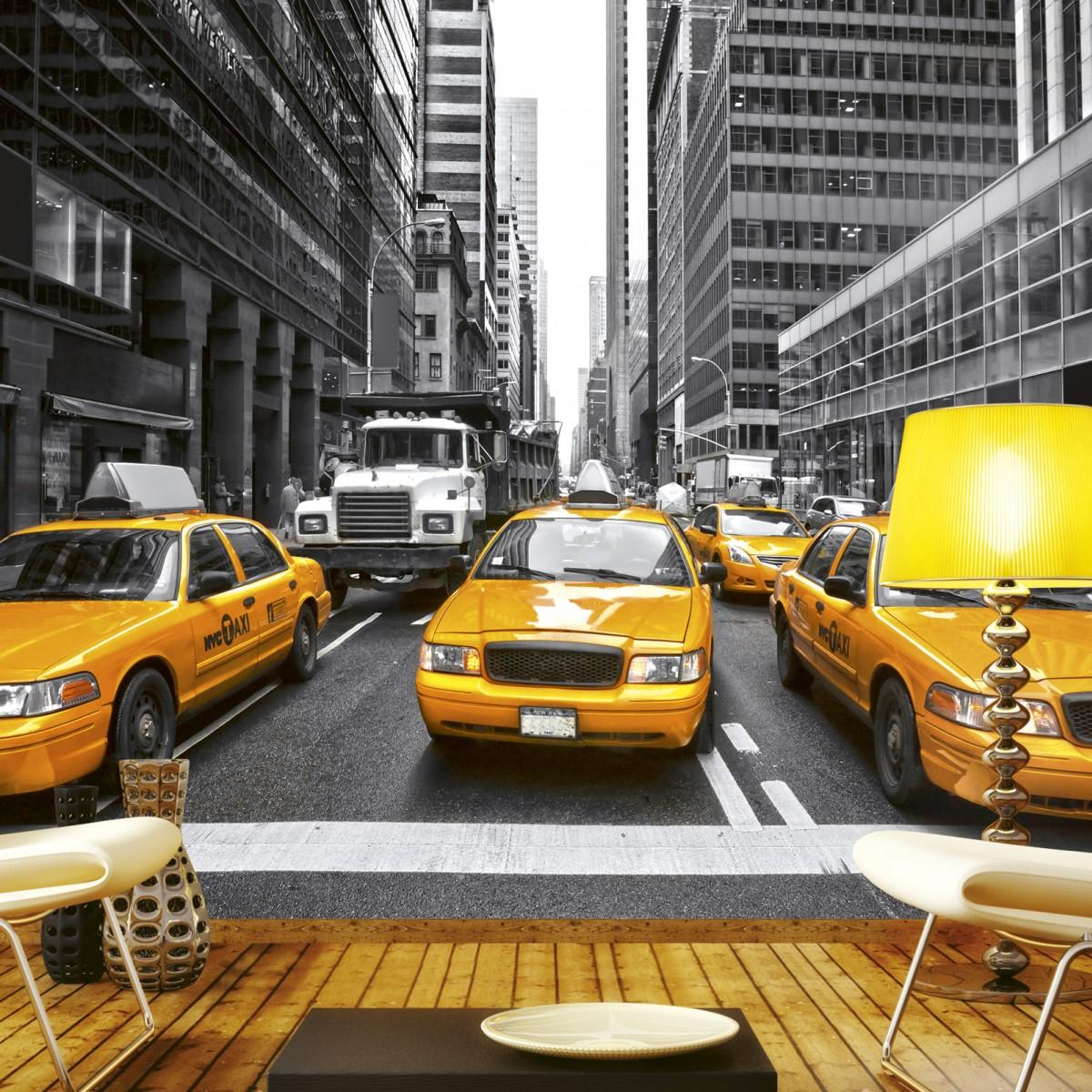 Foto tapet 3D Yellow Taxi, Dimex, 5 fâșii, 375 x 250cm