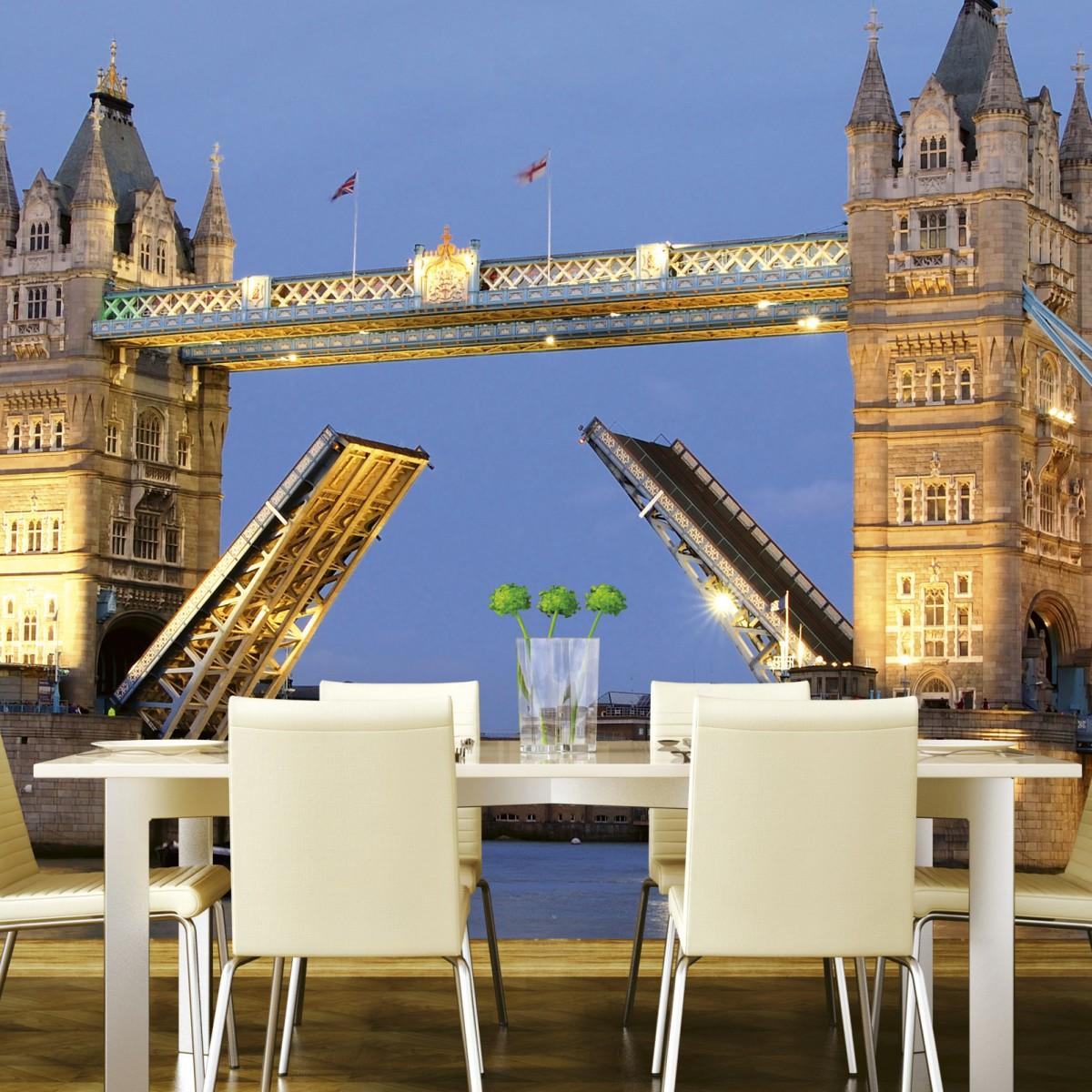 Foto tapet 3D Tower Bridge Night, Dimex, 5 fâșii, 375 x 250cm
