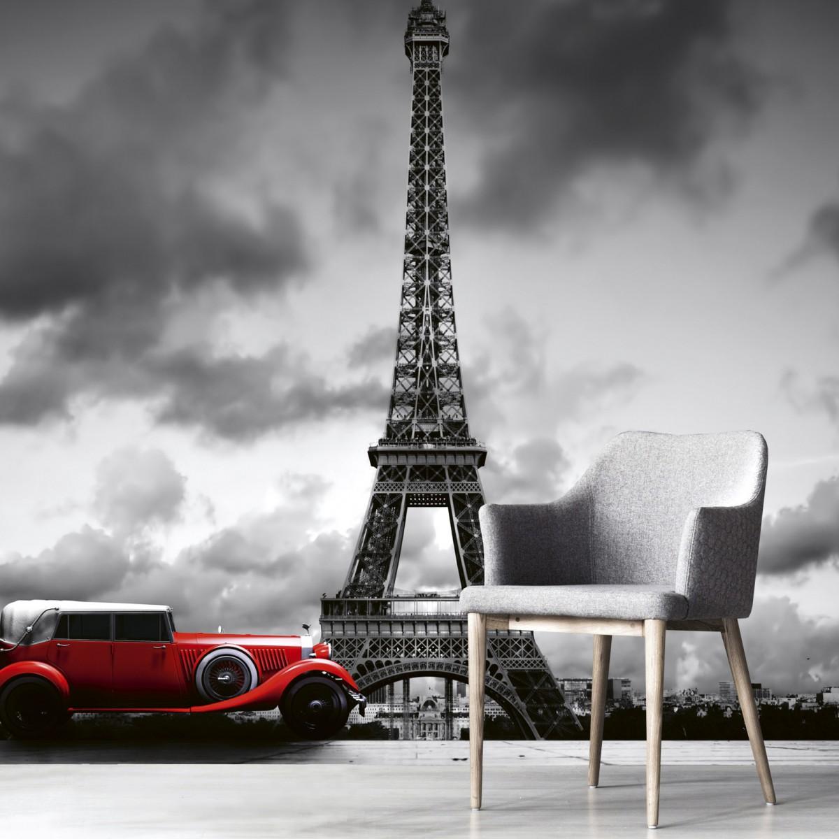 Foto tapet 3D Retro Car Paris, Dimex, 5 fâșii, 375 x 250cm