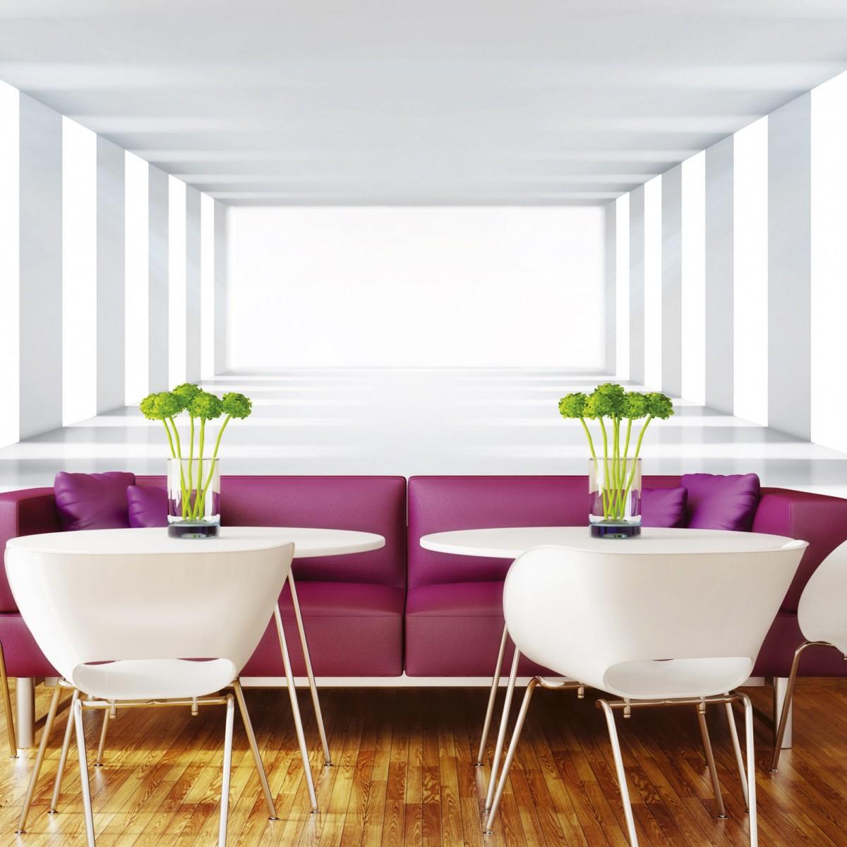 Foto tapet 3D White Corridor, Dimex, 5 fâșii, 375 x 250cm