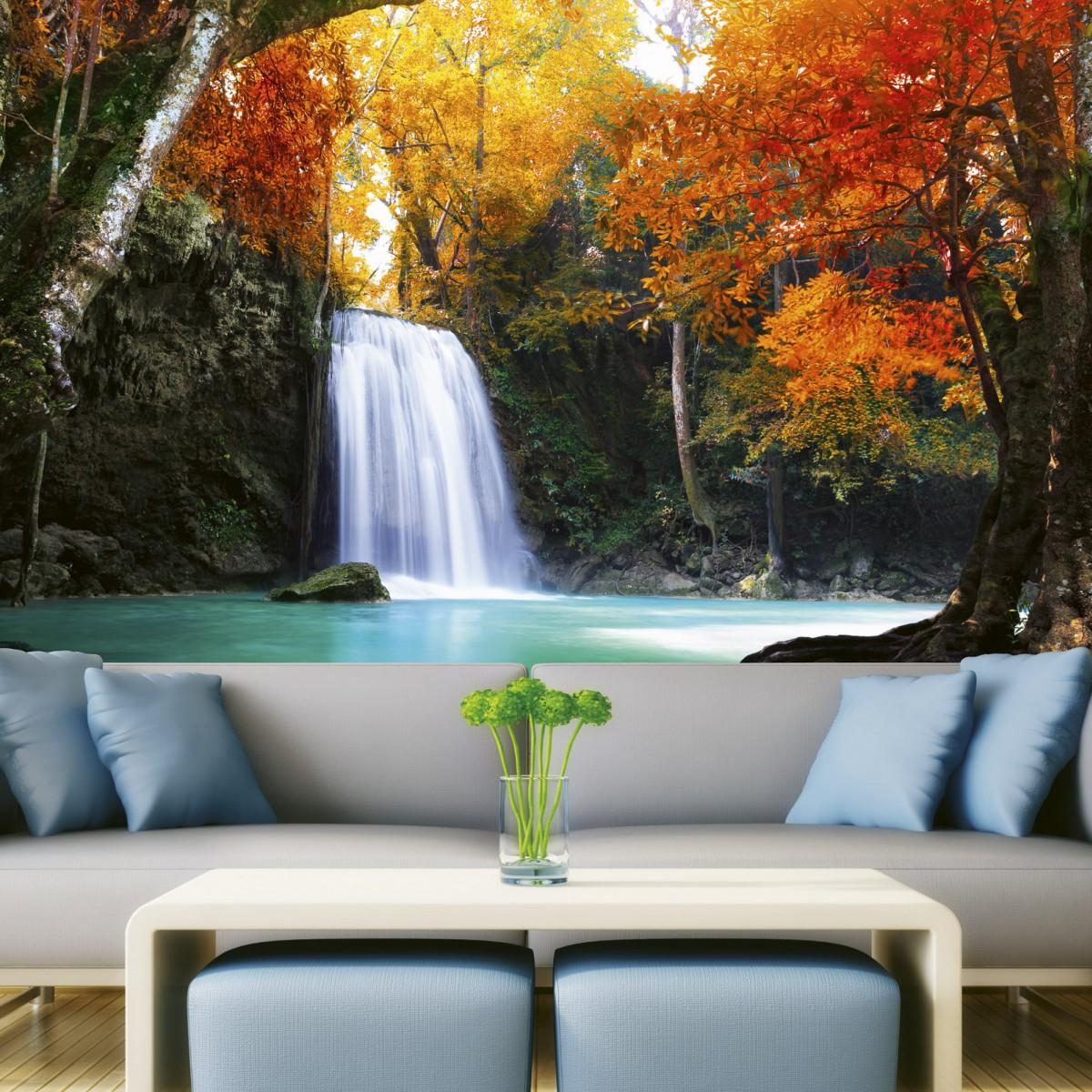 Foto tapet 3D Deep Forest Waterfall, Dimex, 5 fâșii, 375 x 250cm