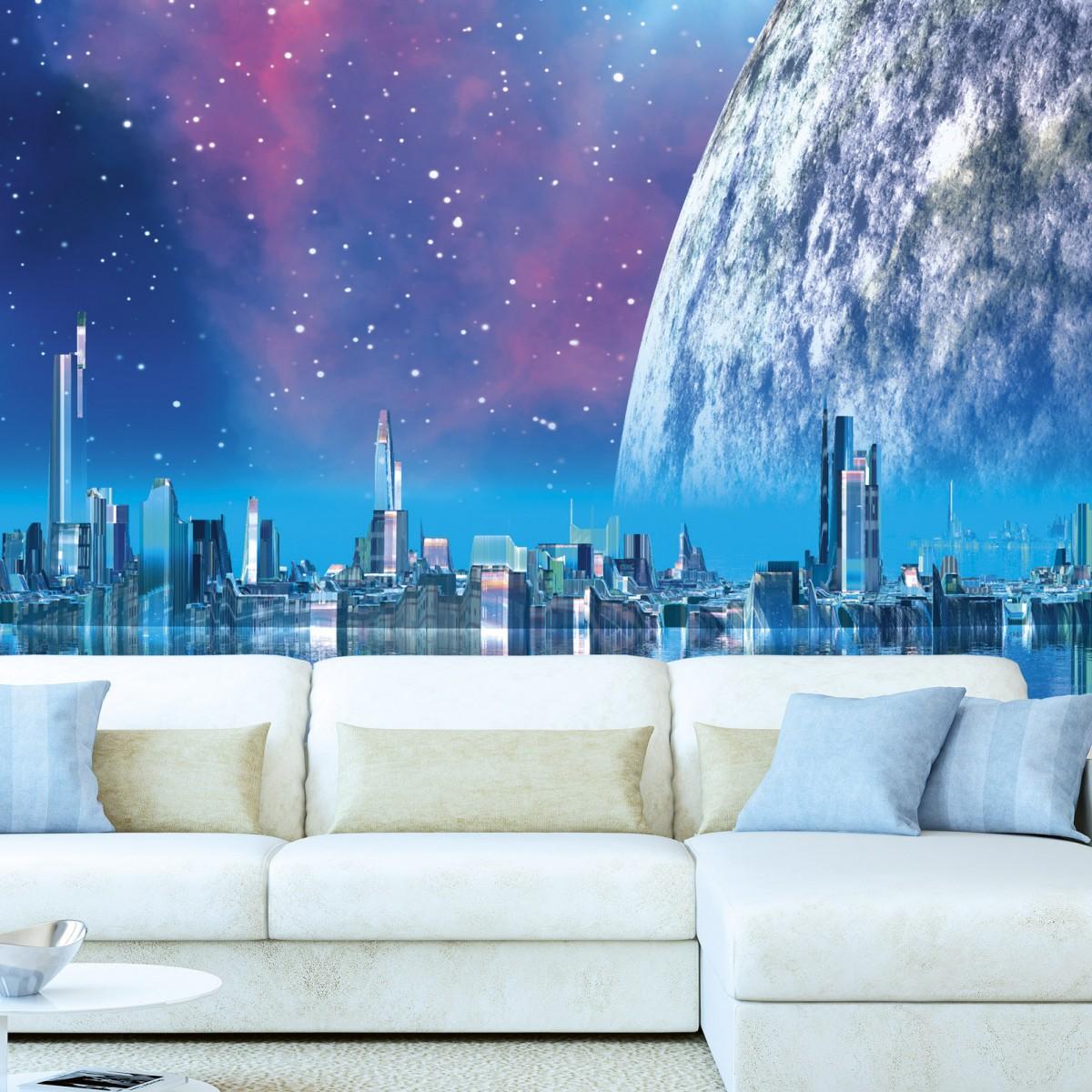Foto tapet 3D Futuristic City, Dimex, 5 fâșii, 375 x 250cm