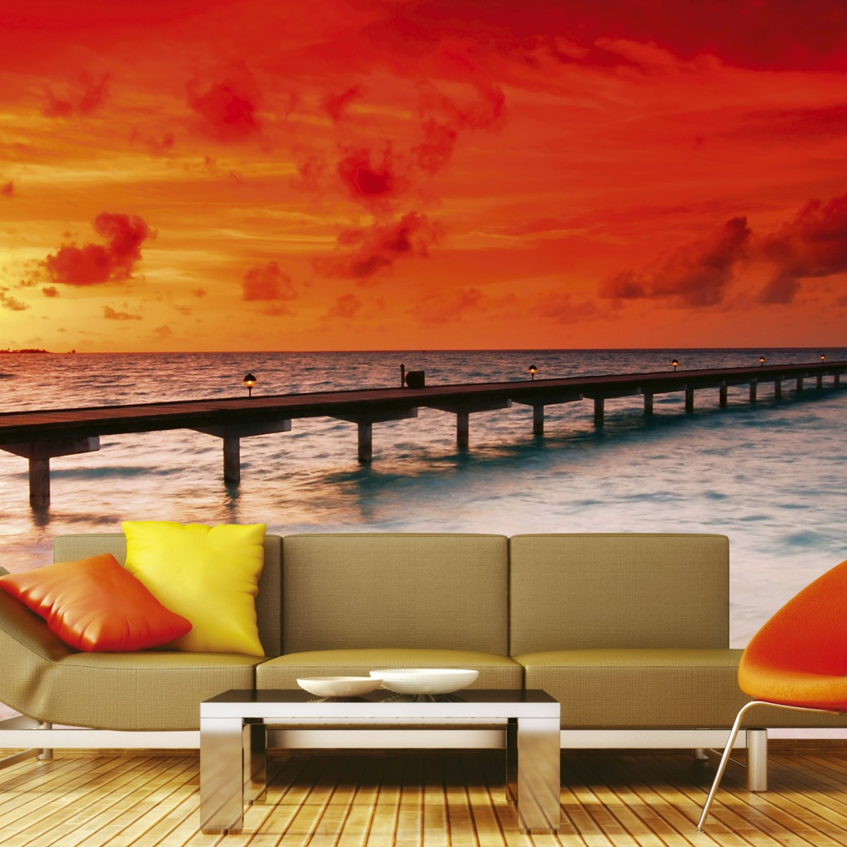 Foto tapet 3D Jetty In Sunset, Dimex, 5 fâșii, 375 x 250cm