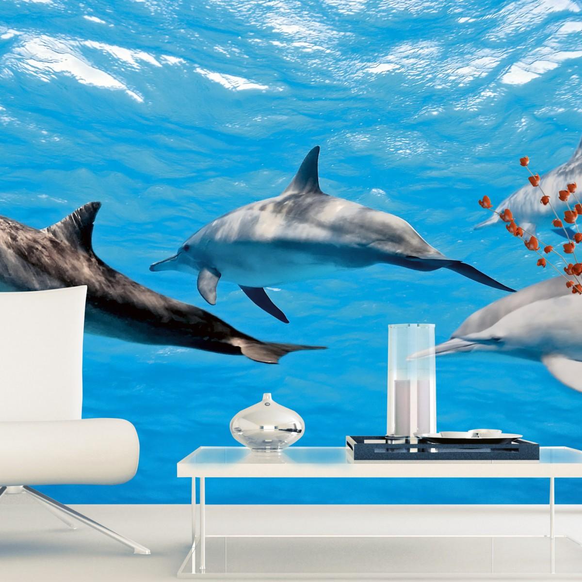 Foto tapet 3D Dolphins, Dimex, 5 fâșii, 375 x 250cm