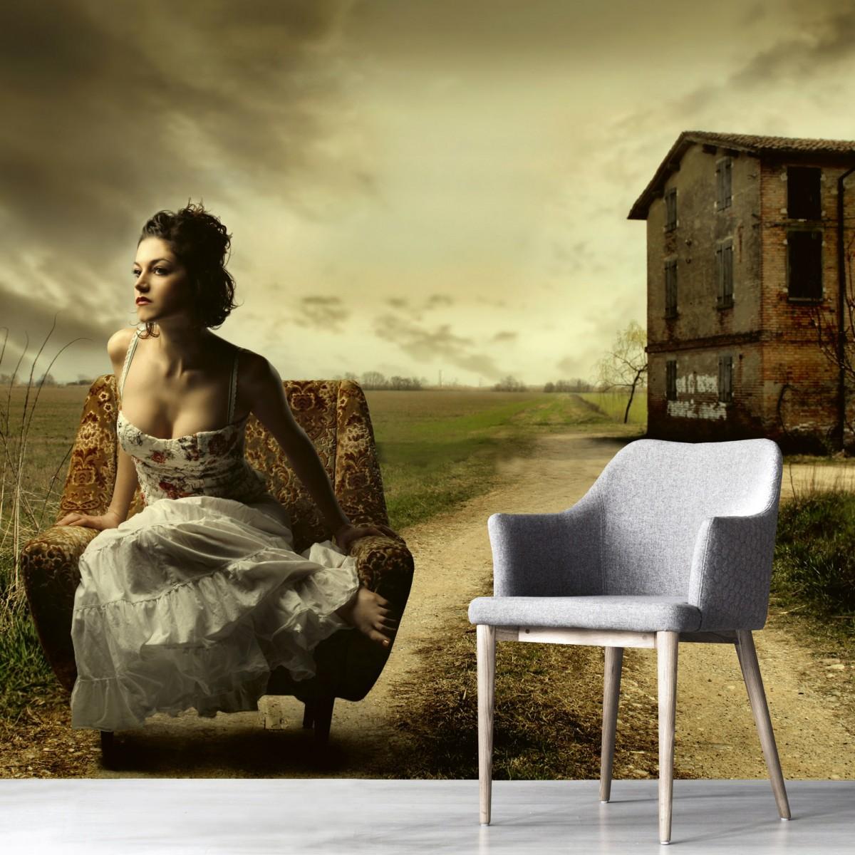 Foto tapet 3D Girl On Armchair, Dimex, 5 fâșii, 375 x 250cm