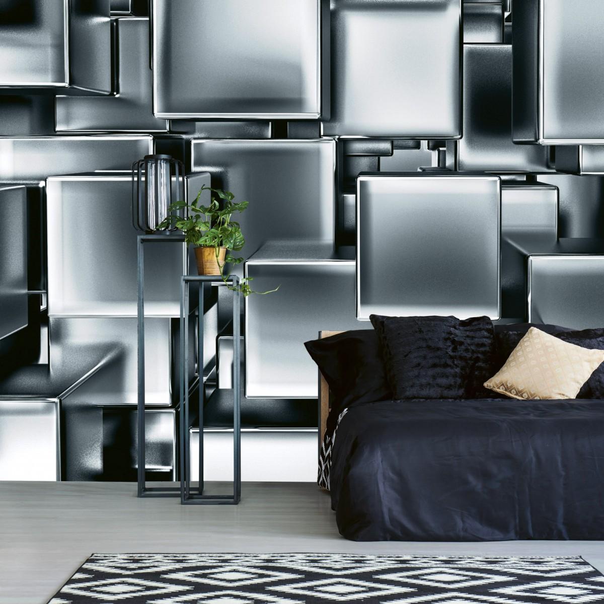 Foto tapet 3D Metal Cubes, Dimex, 5 fâșii, 375 x 250cm