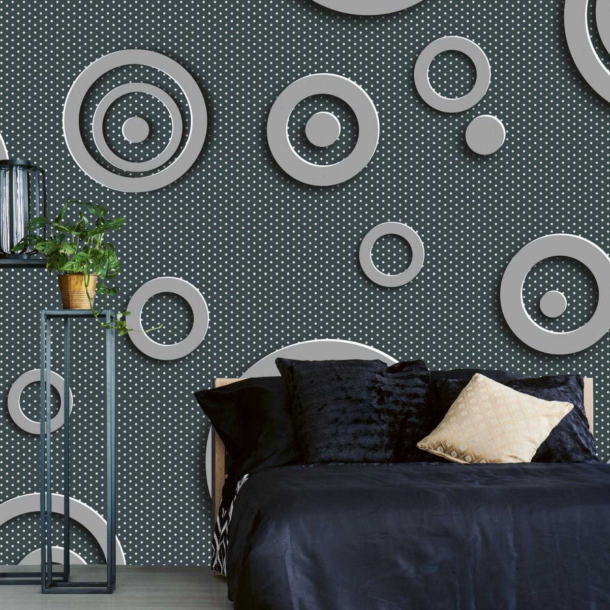 Foto tapet 3D Metal Circles, Dimex, 5 fâșii, 375 x 250cm