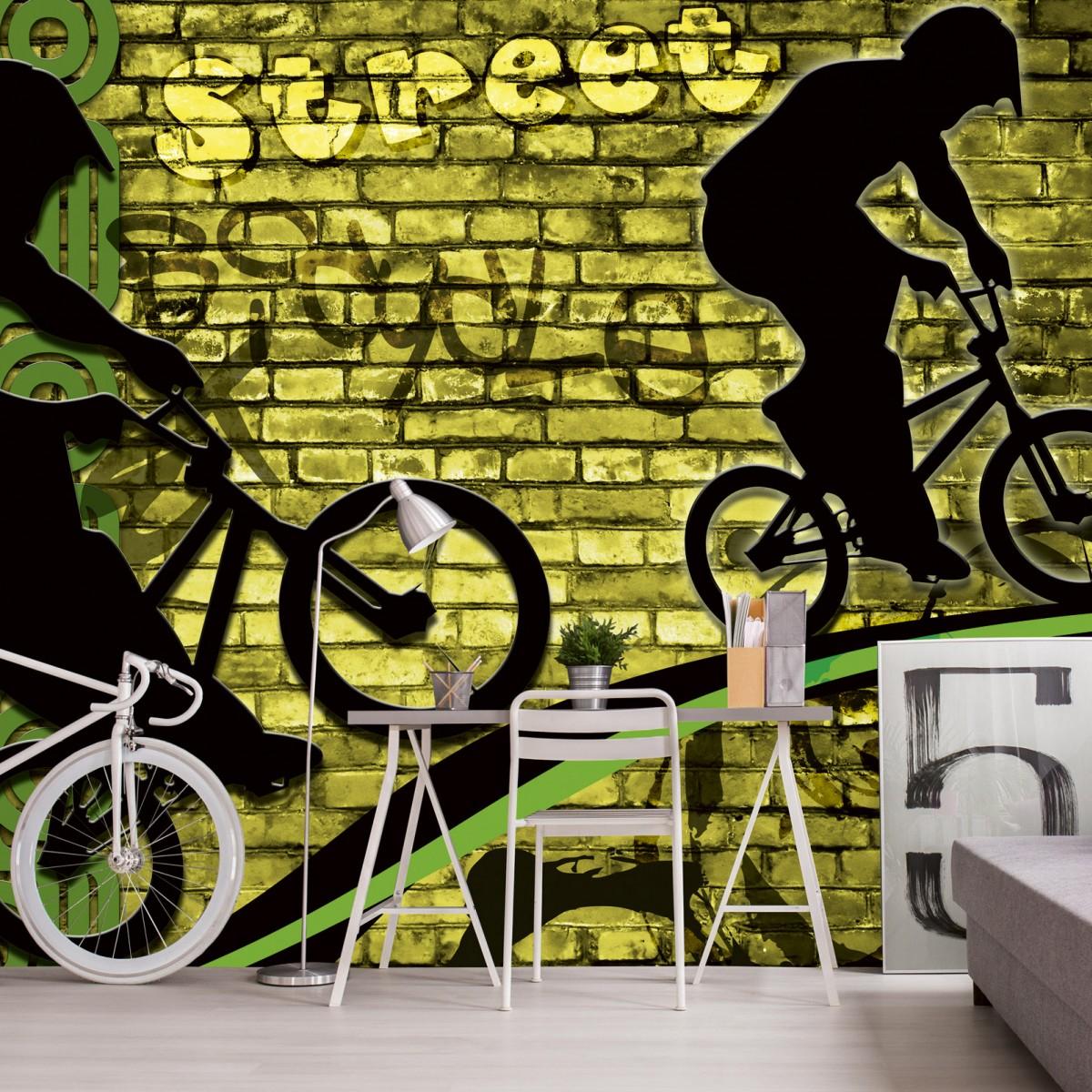 Foto tapet 3D Bicycle Green, Dimex, 5 fâșii, 375 x 250cm