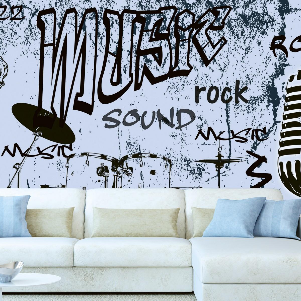 Foto tapet 3D Music Blue, Dimex, 5 fâșii, 375 x 250cm