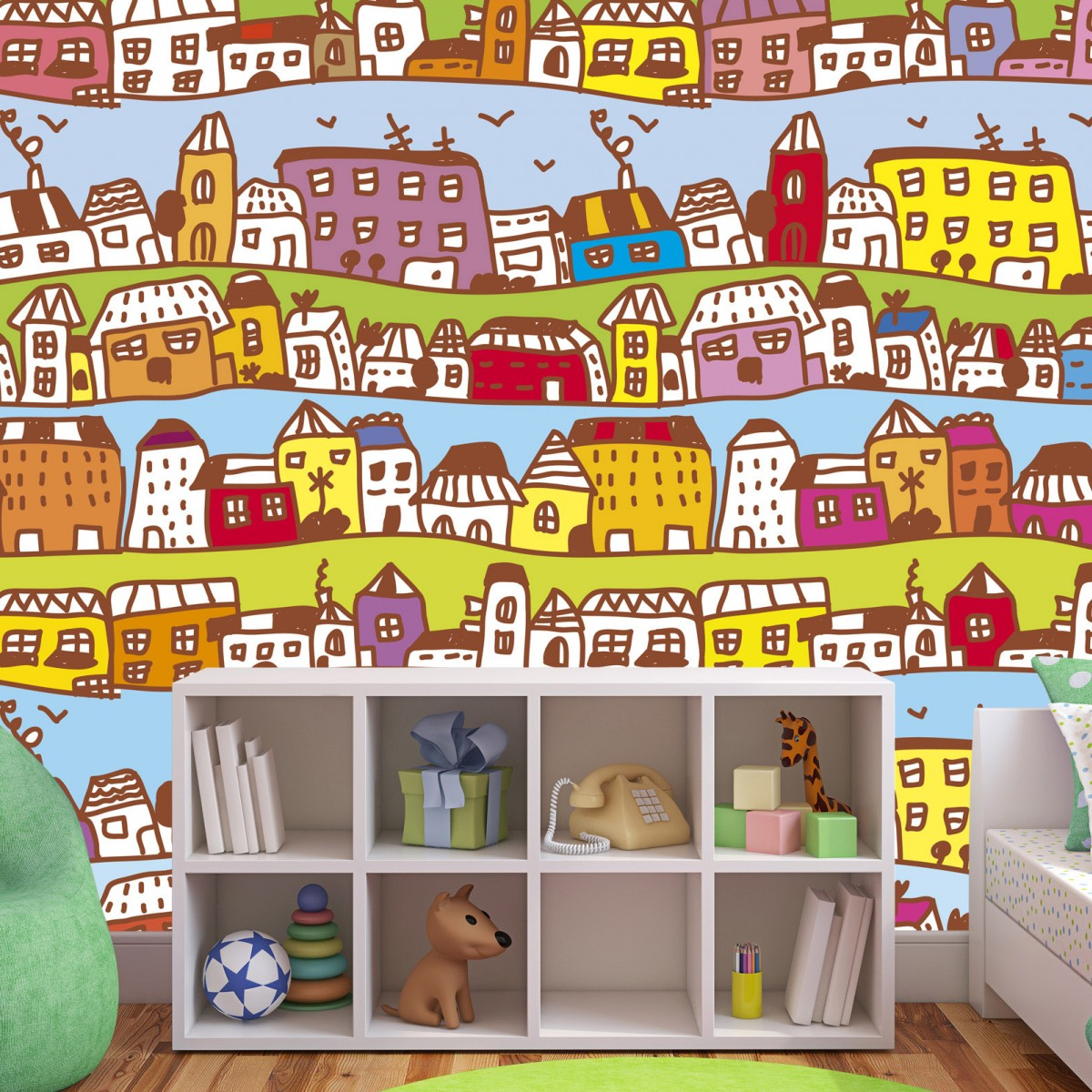 Foto tapet 3D Houses In Town, Dimex, 5 fâșii, 375 x 250cm