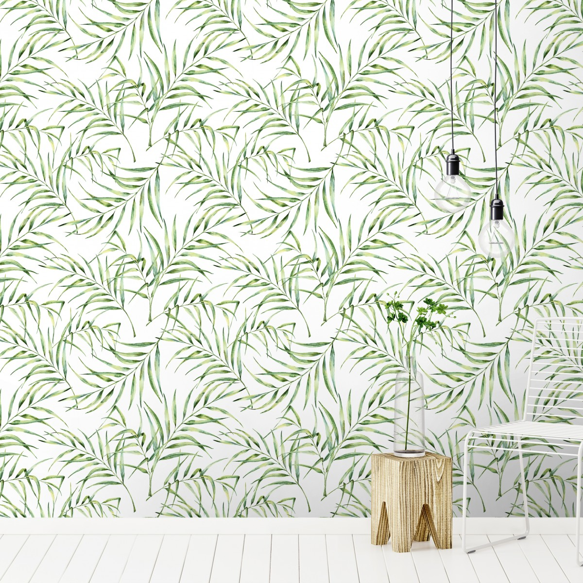 Tapet designer Palm Breeze (Watercolour Palm Leaf) - Feathr
