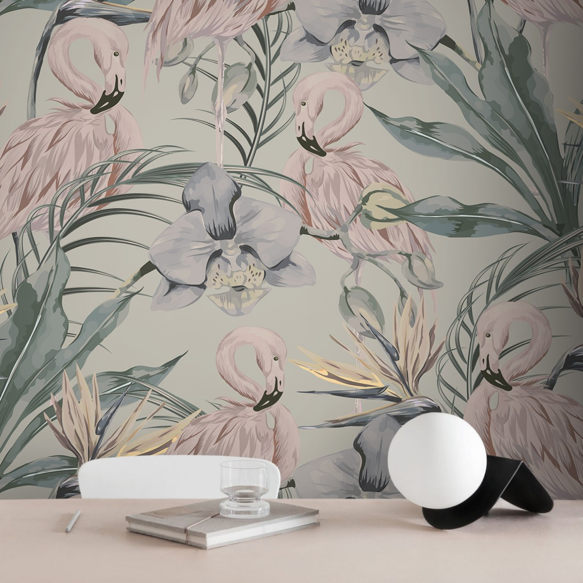 Tapet designer Tropical Shore (Tropical Flamingo) - Feathr