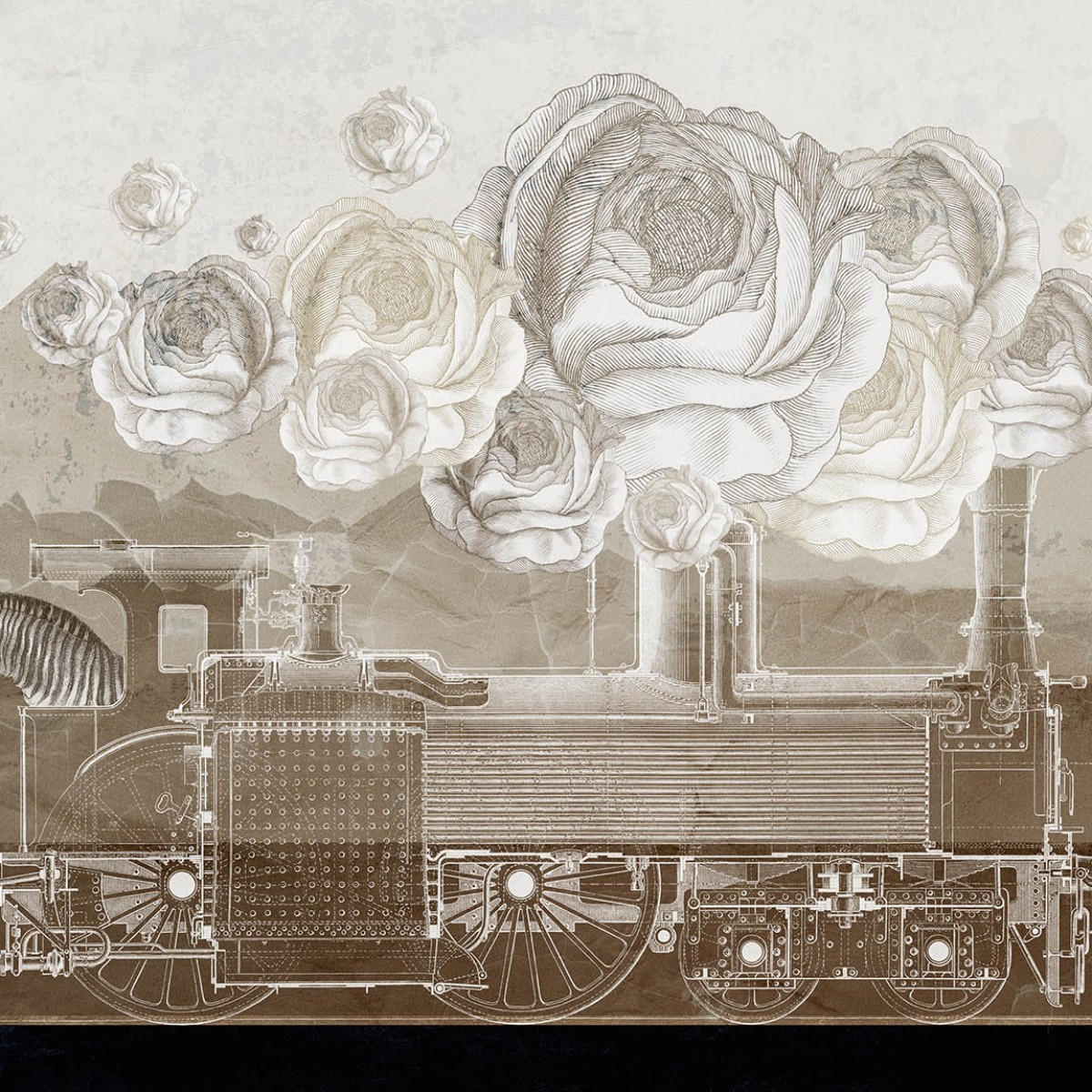 Fototapet contemporan The Locomotive personalizat, Idea Murale