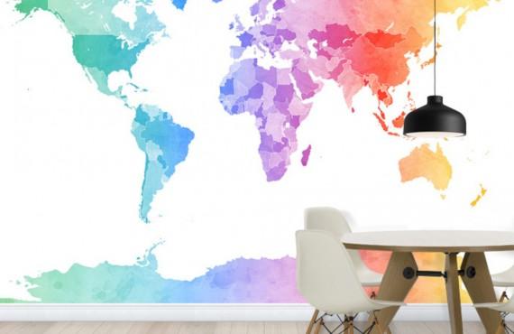 Fototapet  Harta Lumii colorată, personalizat, Photowall