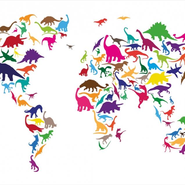 Fototapet Dinozaur Harta Lumii, personalizat, Photowall