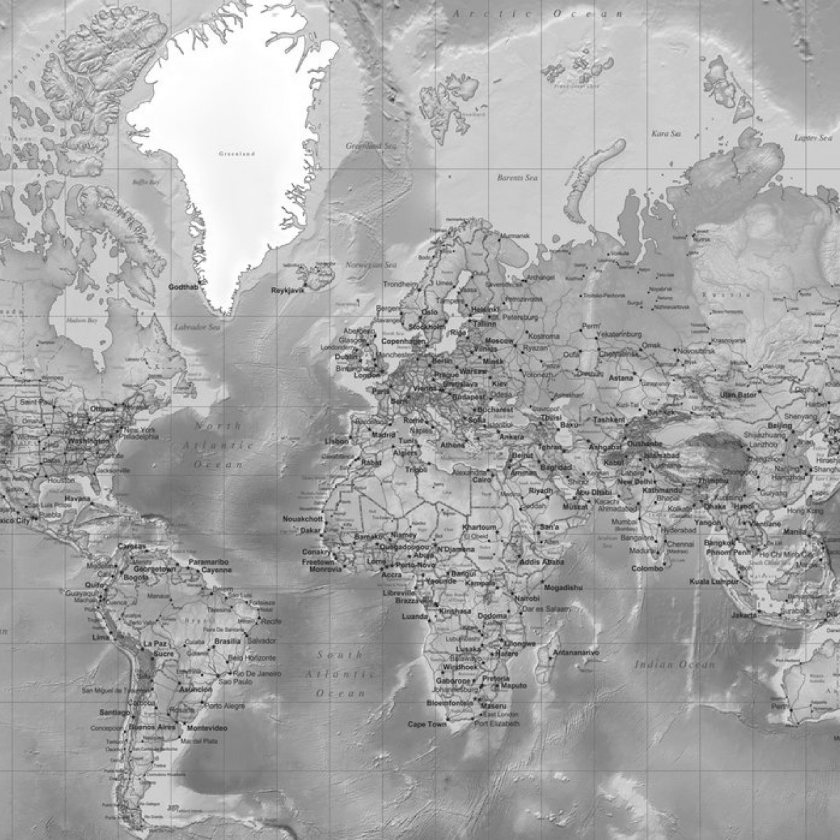 World Map - Detailed Grey, personalizat, Photowall