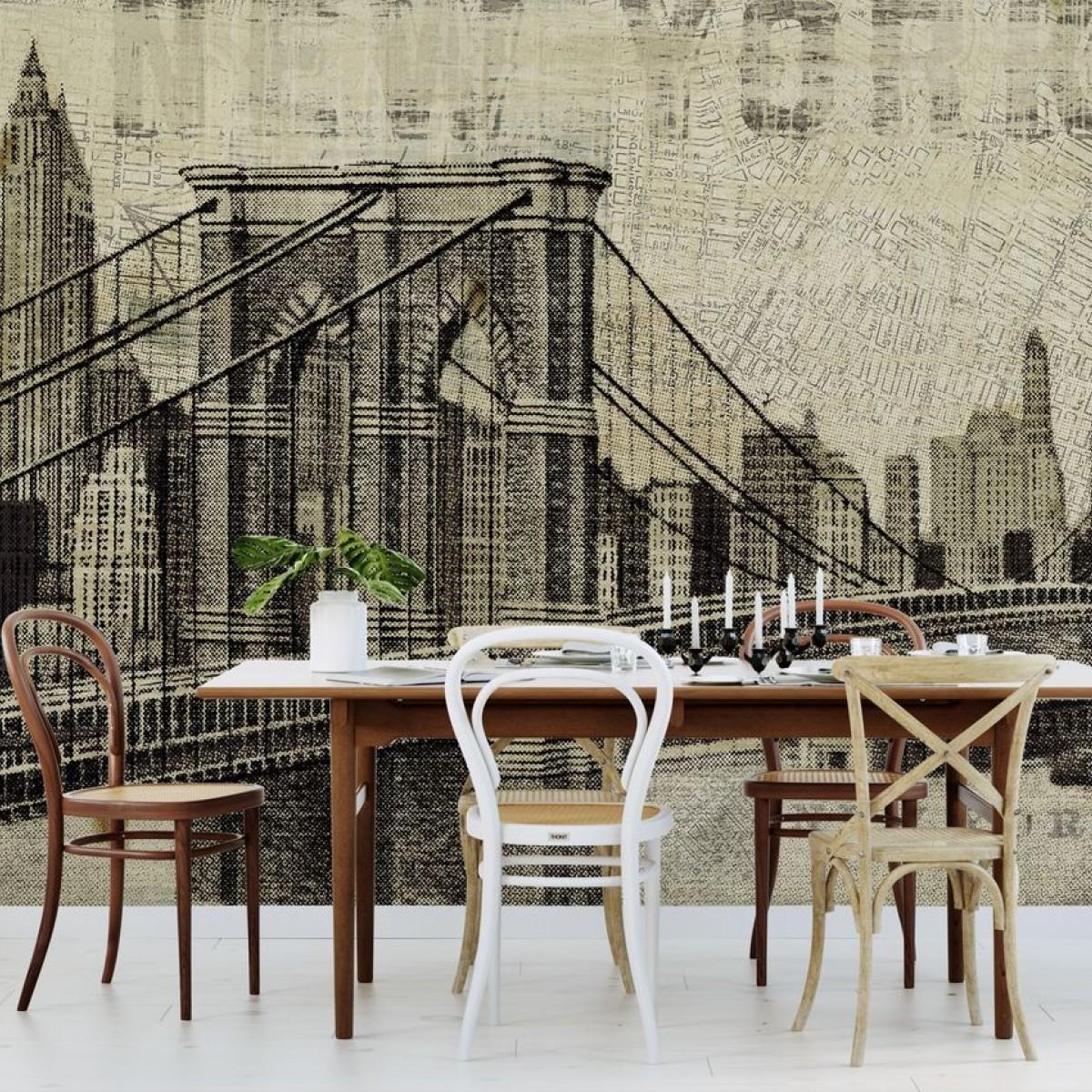 Fototapet Vintage New York Brooklyn Bridge, personalizat, Photowall