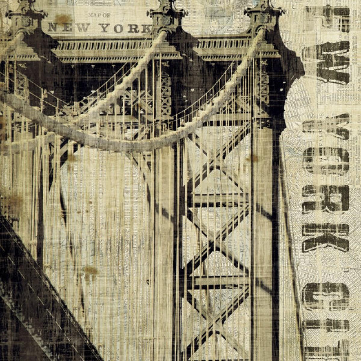 Fototapet Vintage New York Manhattan Bridge, personalizat, Photowall
