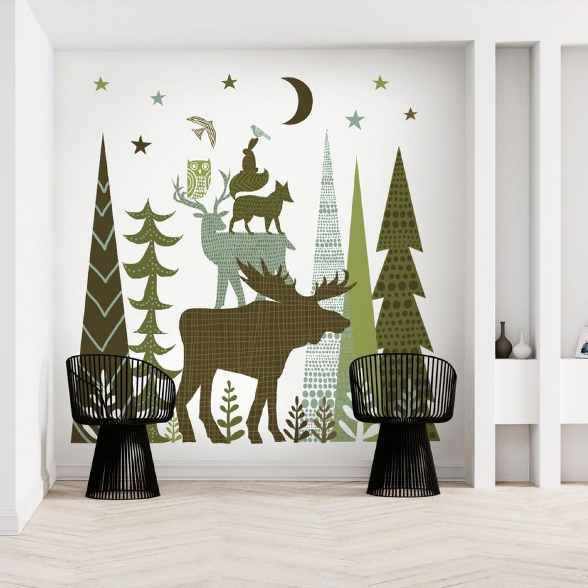 Fototapet Forest Folklore Green Animals 2, personalizat, Photowall