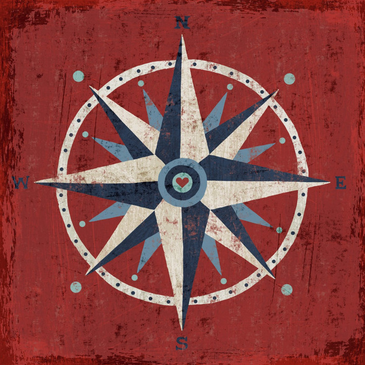 Fototapet Nautical Love Compass, personalizat, Photowall